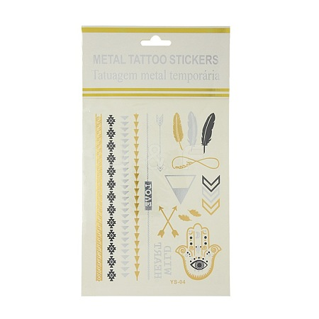 Cool Body Art Removable Mixed Shapes Fake Temporary Tattoos Metallic Paper StickersAJEW-O007-24-1