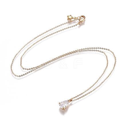 Brass Chain Pendants NecklacesNJEW-JN02383-02-1