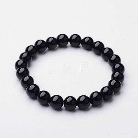 Natural Black Agate Beaded Stretch Bracelets BJEW-F203-09-1