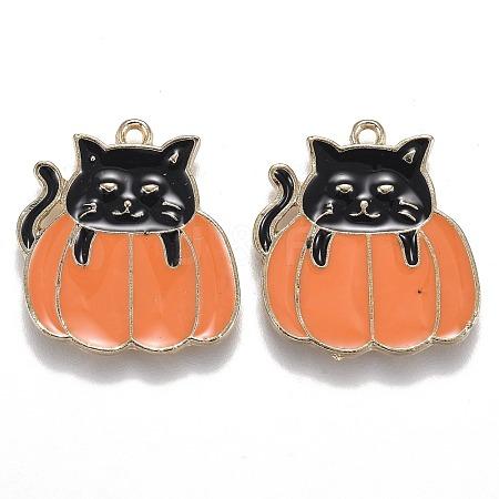 Halloween Theme Alloy Enamel PendantsENAM-J649-06LG-01-1