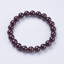 Natural Garnet Beaded Stretch Bracelets BJEW-I253-8mm-03