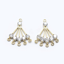 Brass Micro Pave Cubic Zirconia Chandelier Components Links X-KK-F729-71G-NF
