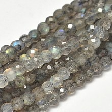 Faceted Round Natural Labradorite Bead Strands G-F289-09