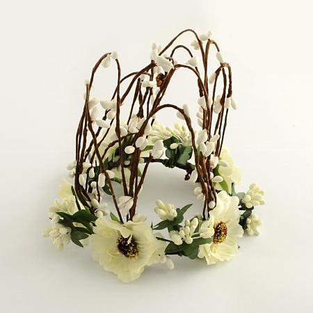 Cloth Flower Headbands with Iron Wires OHAR-R256-21B-1