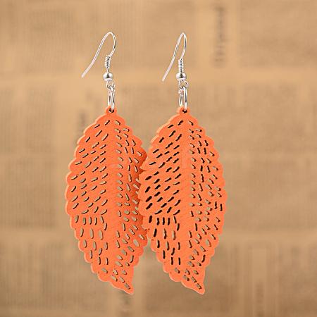 Cute Design Filigree Leaf Wood Dangle EarringsX-EJEW-I179-04-1
