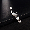 Star 18K Platinum Plated Body Jewelry Brass Cubic Zirconia Dangle Belly RingsAJEW-EE0001-09-2