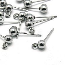 304 Stainless Steel Stud Earring Findings X-STAS-E026-3