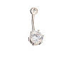 18K Platinum Plated Body Jewelry Cubic Zirconia Brass Navel Ring Belly Rings AJEW-EE0001-05B-1