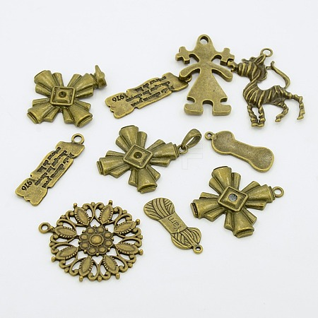 Tibetan Style Alloy PendantsTIBEP-X0005-03-AB-1