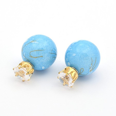 Double Side Resin Ball Ear Studs X-EJEW-O027-05B-1