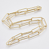 Brass Round Oval Paperclip Chain Necklace MakingMAK-S072-06A-G-2