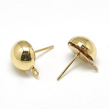 Brass Stud Earring Findings X-KK-T032-004G