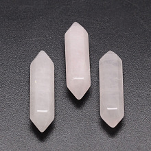 Faceted Bullet Natural Rose Quartz Point Beads for Wire Wrapped Pendants Making X-G-K008-30mm-01