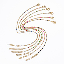 304 Stainless Steel Cable Chain Anklets AJEW-H010-01