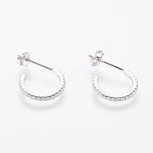 925 Sterling Silver Stud Earrings EJEW-AA00271-05P