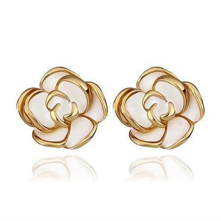 Romantic Flower Real 18K Gold Plated Tin Alloy Enamel Ear Studs For WomenEJEW-BB13374-1