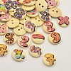 Flat Round with Letter & Number Dyed 2-Hole Printed Wooden ButtonsX-BUTT-P009-09-1