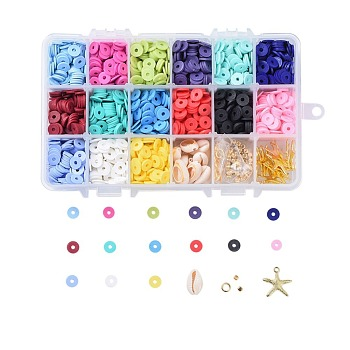 Environmental Handmade Polymer Clay Beads, Disc/Flat Round, Heishi Beads, Mixed Color, 8x0.5~1mm, Hole: 2mm; about 190~200pcs/compartment, 2850~3000pcs/box