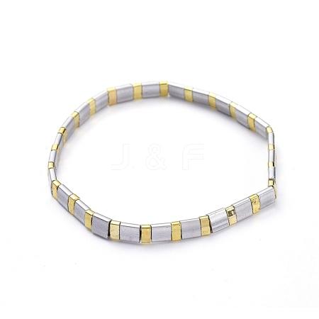 Rectangle Glass Seed Beads Stretch BraceletsBJEW-JB05297-03-1