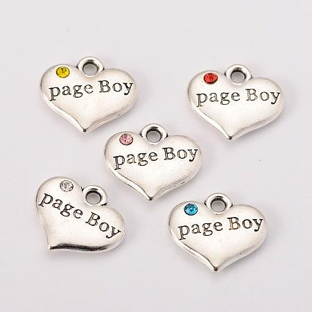 Wedding Theme Antique Silver Tone Tibetan Style Heart with Page Boy Rhinestone CharmsX-TIBEP-N005-14-1