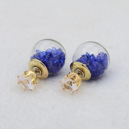 Glass Globe Double Sided Ball Ear StudsX-EJEW-E153-03K-1