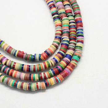 Handmade Polymer Clay Beads, Disc/Flat Round, Heishi Beads, Mixed Color, 4x1mm, Hole: 1mm; about 380~400pcs/strand, 17.7