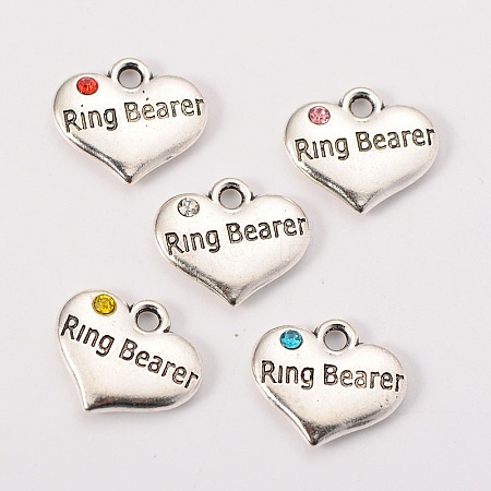 Wedding Theme Antique Silver Tone Tibetan Style Heart with Ring Bearer Rhinestone CharmsX-TIBEP-N005-15-1