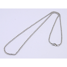 304 Stainless Steel Necklaces Unisex Rolo Chain Necklaces NJEW-507L-6
