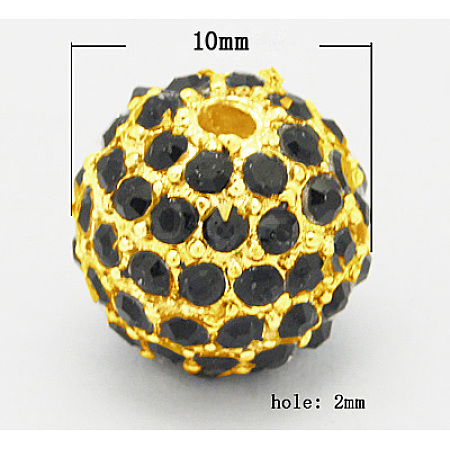 Alloy Rhinestone Beads RB-B060-G3-1