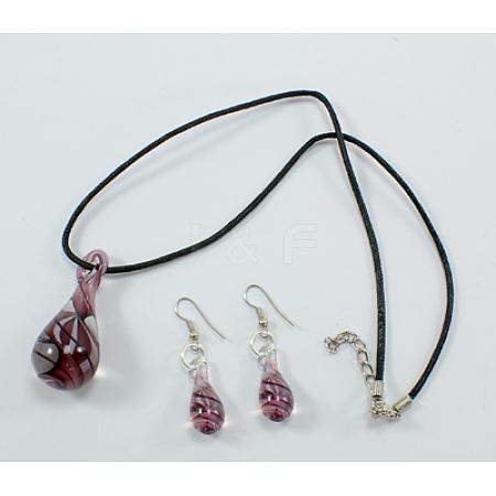 Gold Sand Lampwork Jewelry SetSLNE089-1-1