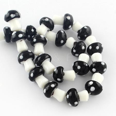 Mushroom Handmade Lampwork Beads StrandsX-LAMP-R116-11-1