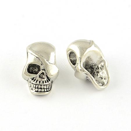 Skull Tibetan Style Alloy European BeadsX-TIBEP-S293-068AS-LF-1