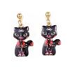 Alloy Kitten Dangle Stud EarringsEJEW-G148-19G-05-2