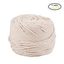 Cotton String Threads for Jewelry Making OCOR-WH0009-C01-3mm