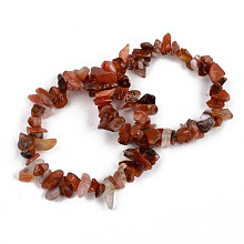 Unisex Chip Natural Carnelian/Red Agate Beaded Stretch Bracelets BJEW-S143-01