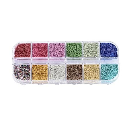 Color Plated DIY 3D Nail Art Decoration Mini Glass Micro BeadsMRMJ-JP0001-02-1