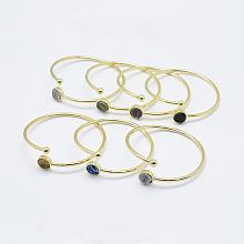Brass Cuff Bangles BJEW-G585-06G