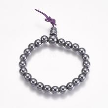 Non-magnetic Synthetic Hematite Stretch Bracelets BJEW-K183-01