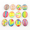 Colorful Pattern Glass Oval Flatback Cabochons for DIY ProjectsX-GGLA-R022-35x25-98-1