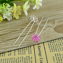 Lady's Hair Accessories Silver Color Iron Rhinestone Flower Hair Forks PHAR-S185-09