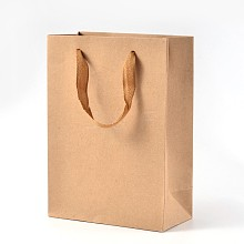 Rectangle Kraft Paper Bags with Handle AJEW-L048A-02