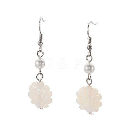 Shell Beads Dangle EarringsEJEW-JE02839-1