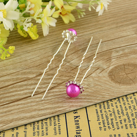 Lady's Hair Accessories Silver Color Iron Ball Hair ForksPHAR-S191-09-1