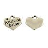 Tibetan Alloy Heart Carved Word Aunt of Bride Wedding Family Charms Rhinestone SettingsX-TIBEP-GC204-AS-NR-1