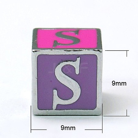 Alloy Enamel Large Hole Cube BeadsX-ENAM-C1491-S-1