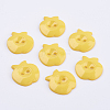 Gold Acrylic Apple 2-Hole Sewing Buttons Scrapbooking 21mm Knopf Bouton X-BUTT-E037-A-07-1