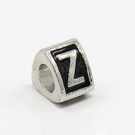Platinum Tone Zinc Alloy Enamel European BeadsX-MPDL-L001-01Z-1