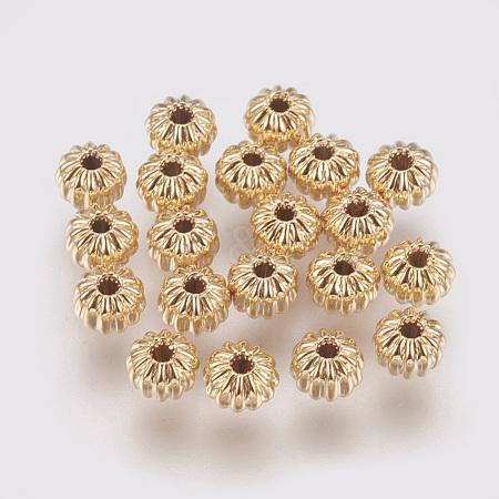 Brass Corrugated BeadsX-KK-S314-4mm-13G-1