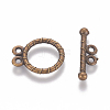 Tibetan Style Alloy Flat Round Toggle Clasps TIBE-2131-AB-NR-1