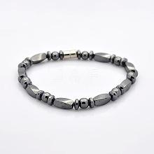 Great Valentines Day Ideas for Boyfriend Non-Elastic Magnetic Hematite Bracelets BJEW-M066-15
